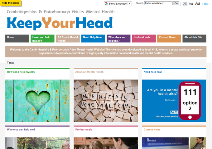 Cambridgeshire & Peterborough Mental Health Service, Keep Your Head adults website