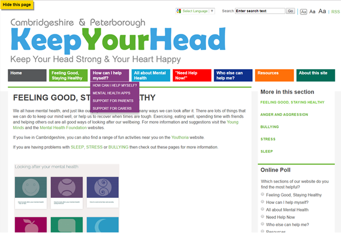 Cambridgeshire & Peterborough Mental Health Service, Keep Your Head website